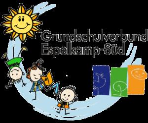 Logo: Grundschulverbund Espelkamp-Süd GSV mit strahlender gelber Sonne, fröhlichen Kindern und den Standorten Benkhausen, Isenstedt, Frotheim in Blau, Grün Gelb.